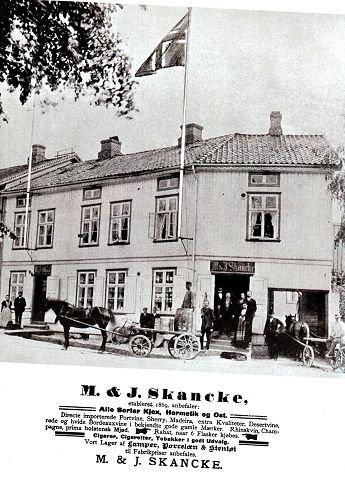 Handelshuset til Skancke slik det så ut ved forrige århundreskifte.
