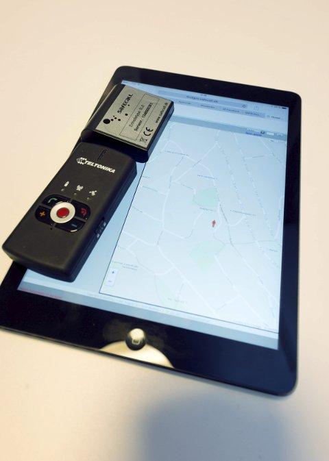 På iPaden kan man se hvor brukeren befinner seg.