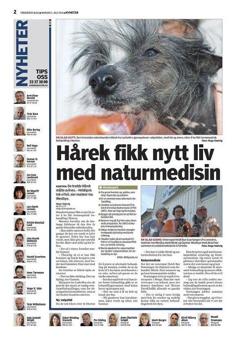 NYTT LIV: Tønsbergs Blad i går