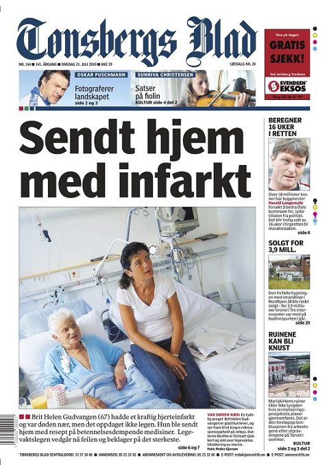 MARERITTET: Brit Helen Gudvangen ble sendt hjem med hjerteinfarkt.Tønsbergs Blad 21. juli