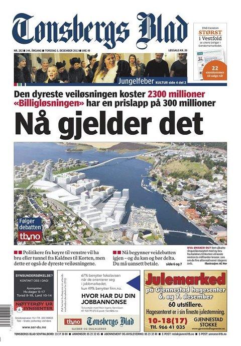 OMSTRIDT: Statens vegvesen vil ha nord-sør-løsning. KVU er fortsatt ute på høring.  Tønsbergs Blad 5. desember 2013