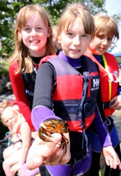 LANDKRABBE: En av favorittaktivitetene til barna var å fiske etter krabber. Her viser Isabel Valdal (t.v.), Oda Glasø og Celine Nordheim fram dagens fangst.