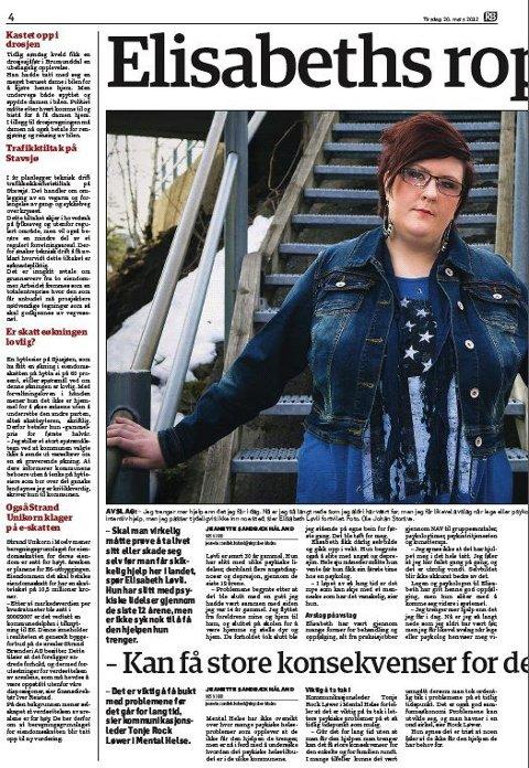 Ett år siden: I mars i fjor sto Elisabeth Løvli fram med sin historie i RB. Faksimile.