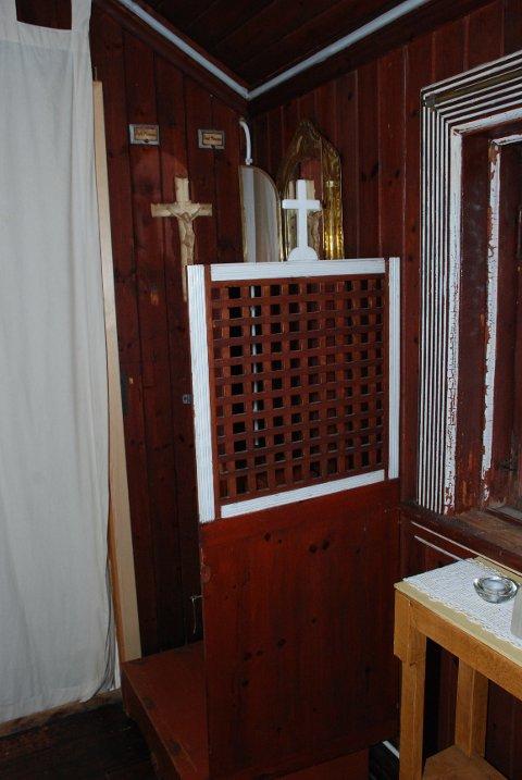 SKRIFTESTOLEN: Her måtte novisene i Villa St. Hallvard bekjenne sine synder og motta syndsforlatelsen av novisiatets Pater.