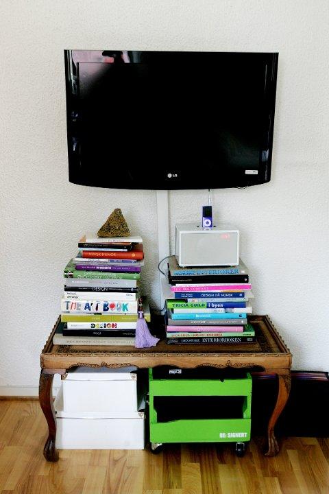Signe Schinellers TV og iPod-anlegg er nytt, men hadde det vært mulig å kjøpe dette på loppemarked så hadde hun gjort det. Settebordet som fungerer som stereobenk er fra kjellerboden til noen venner.
