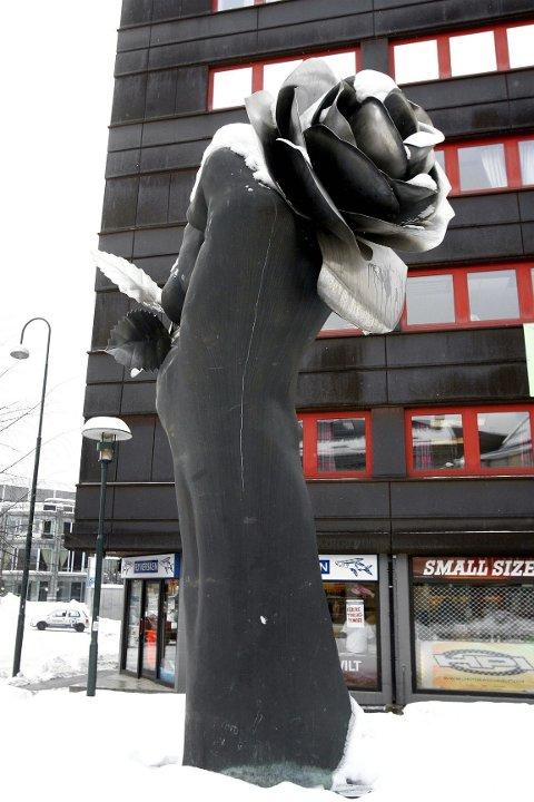 KNYTTNEVE MED ROSE: Bestilt av Asker kommune, men havnet på ¿Grønland i Oslo.¿ FOTO: KARL BRAANAAS