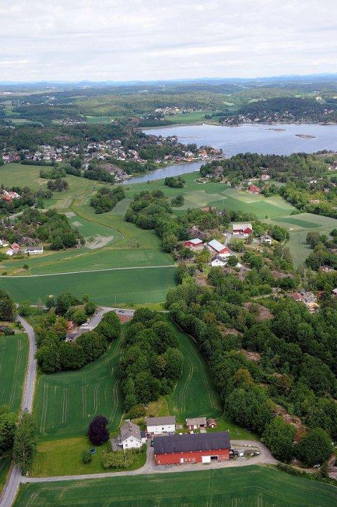 Planområdet er i dag i et LNF-område. De syv eneboligene er planlagt i skogområdet nede til høyre i bildet, sør for veien mot Skjellvika. I bakgrunnen Tønsbergfjorden og Lahelle. Alle foto: Olaf Akselsen