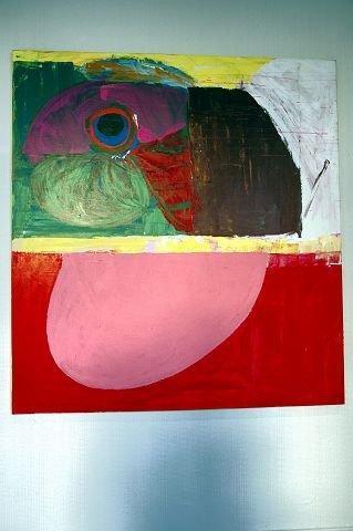 """Dette maleriet av Jørgen Dobloug, som deler Galleri ØKS med Arne Revheim, er inspirert av den avdøde Fredrikstad-kunstneren Jo Stang. Det heter """"Fuglen""""."""