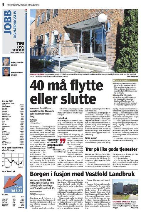 OMORGANISERER: 1. februar er det slutt for Tønsberg- avdelingen.  Tønsbergs Blad 3. september 2010