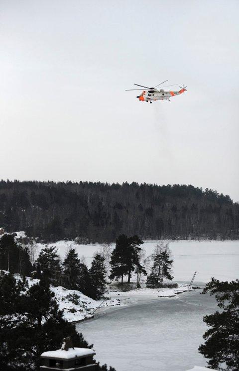 Sea King-helikopteret kom fra Rygge for å bistå i redningsaksjonen.