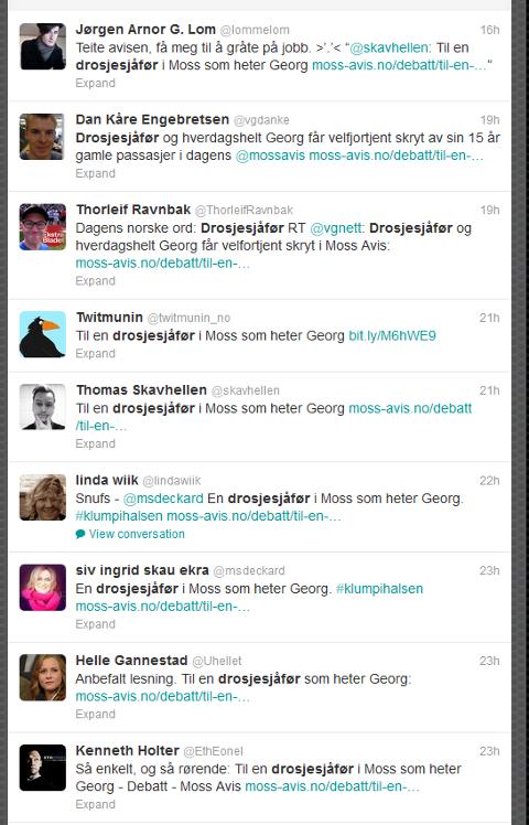 Skjermdump som viser et lite utdrag av aktiviteten på Twitter, knyttet til leserbrevet om drosjesjåføren Georg.