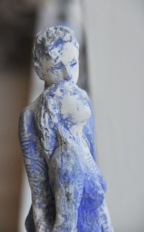 Skulptur: Det var ikke bare bilder som preget åpningen av kunstsenteret. Her er et verk av Nina Due.