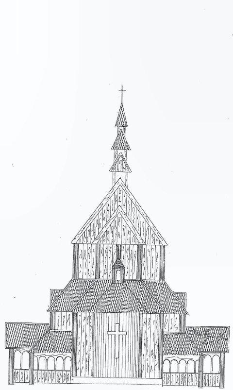STAVKIRKE: Slik skal Hedmarks aller første stavkirke ble seende ut, med plassering sør for Lia gård i Rendalen kommune.