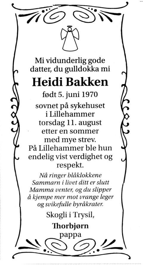 Slutten: Den første dødsannonsen etter at Heidi døde 11. august 2011.