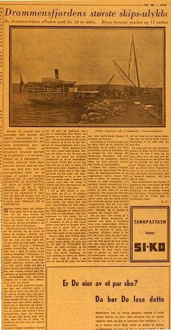 """MYSTERIUM LØST. Dampskipet """"Fram"""" var bare åtte år gammelt da det forsvant på Drammensfjorden natten til 6. desember 1905. Nå er skipet funnet."""