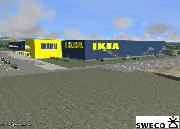 Her er bildene som viser hvordan nye IKEA vil trone i landskapet ved Nydalen like utenfor Hamar.