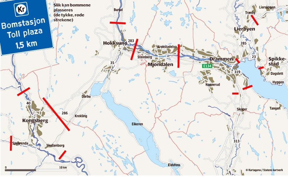 bomstasjoner kart Drammens Tidende   Vil ha 20 bomstasjoner rundt Drammen bomstasjoner kart